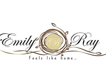 Custom logo design,wretah branches logo, nest nature logo design, business logo design, nature logo,nest wreath logo, rustic logo design