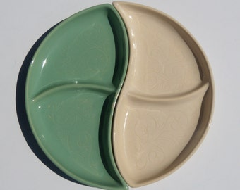 McCoy Divided Dish Teardrop Green and Ivory Set of Two