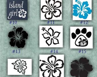 HIBISCUS FLOWER vinyl decals - 10-18 - car window stickers - custom vinyl stickers - vinyl decals - girly decals