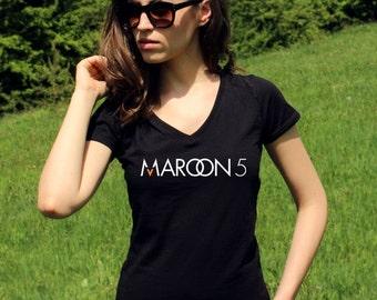 Maroon 5 camisas Maroon 5 Adam Levine de camisa camisas Maroon 5 Tops Mujer Pop Rock camisetas Dama de cuello V camiseta