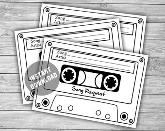 Song Request Cards - Printable Instant Download - Cassette Song Request - Wedding Invitation RSVP - DJ - Request A Song - Fun - 00431
