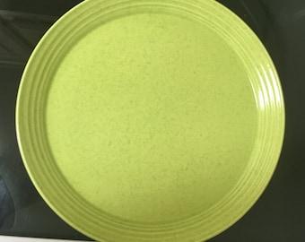 """Mikasa Salad Plates Kiwi Lime Green Retro 8.25"""" Set of 2 Art Deco Terra Stone"""