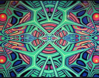Psychedelic giant UV Banner / tapestry, 'Kosmetica'. Hand-painted, UV active, trippy, art decor