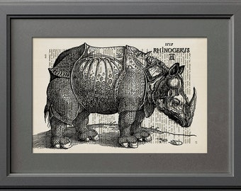 Albrecht Durer Rhinoceros, Albrecht Durer Drawing, Rhinoceros Print, Rhinoceros Drawing, Vintage Book Page Print, Old Dictionary Page Print