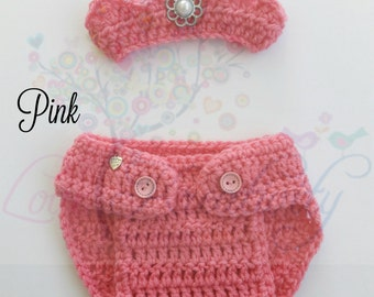 Baby girl photo prop Newborn girl photo outfit Crochet newborn crown and diaper cover set Newborn crochet Baby girl diaper cover & crown