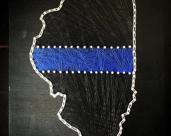 MADE TO ORDER: Illinois Police String Art - 8x10""