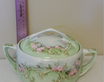rare antique casserole dish - rosenthal bavaria donatello double handle lidded & covered  green white floral pattern victorian bowl 1940 era