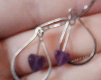 Sterling silver and purple glass bead earrings - unstamped