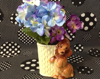 Puppy Love~Vintage Ceramic Planter~Yellow Basket~Golden Retriever~Flower Arrangement~Office~Desk