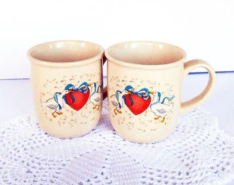 2 Geese Mugs, Vintage 1988 Mugs, Geese Ribbon Heart, Kitchen Kitsch, Cottage Chic, Geese Goose, Geese Collectible, Blue Ribbon