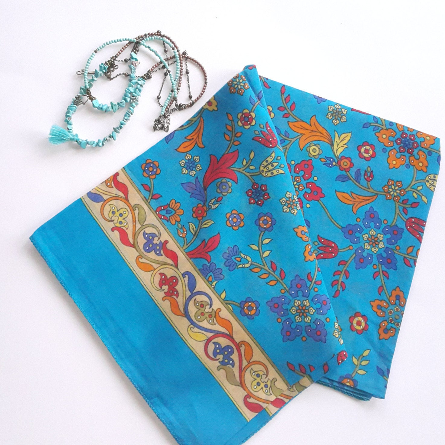 azure cotton turkish scarf large square floral scarves by