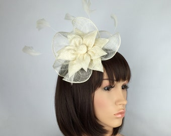 Ivory fascinator Cream Fascinator on Aliceband Hairband Mother of the Bride, Bridal & Wedding, Ascot Cheltenham, Derby, Races