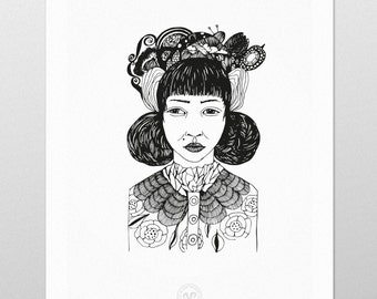 "Poster 50x70 cm, black and white digital print from @myshapeandspace. Named ""Maria""."