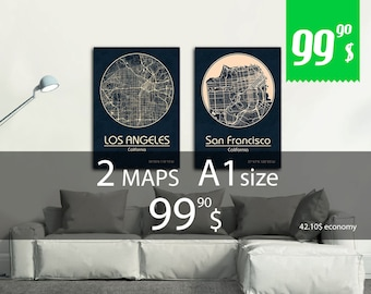 SALE! Set of 2 maps A1 size + discount. Great deal - 42.10 dollars saving - set of 2 map print with discount!