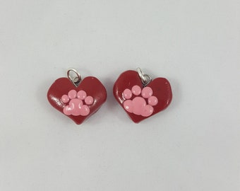Polymer clay Heart with Pawprint Charm