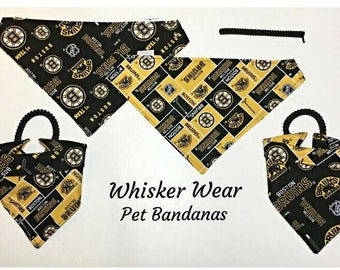 boston hockey fabric, reversible custom pet bandana, dog scarf, no-tie easy dressing, pet scarf, dog bandana, pet clothing, pet wear