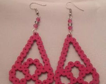Pink hand painted wooden earrings