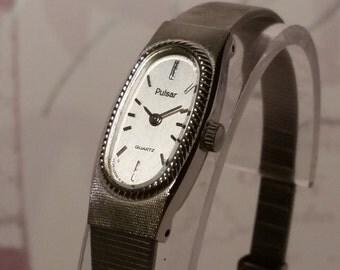 Pulsar Retro Ladies Silver Watch. Women's Vintage Silver Watch. Ladies Watch Gift. Women's Watch Present. Silver Women's Watch. Ladies Watch