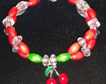 Beaded cherries charm Bracelet