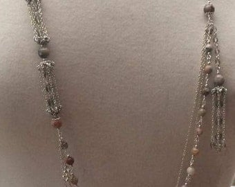 Jasper and smokey quartz crystal necklace in silver