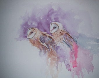 Watercolour painting of Barn Owls