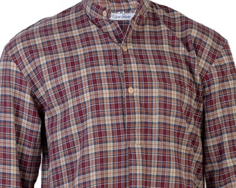 Brown brushed cotton, flannel nightshirt, shell buttons, shirt tail,  mens small