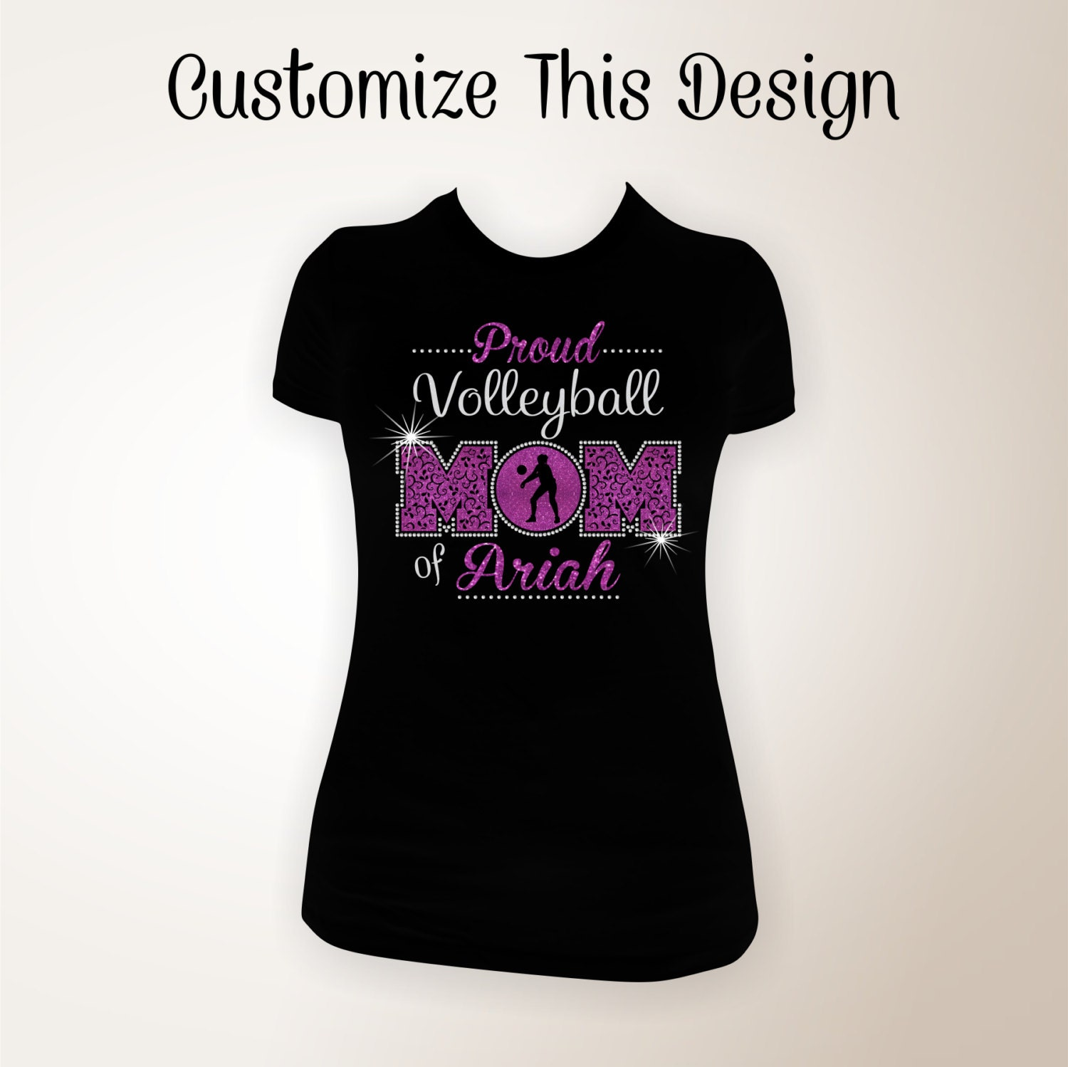 Custom Proud Volleyball Mom Glitter And Bling Shirt