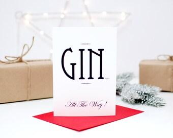 Gin Christmas Card, Adults Christmas Card, Funny Christmas Card