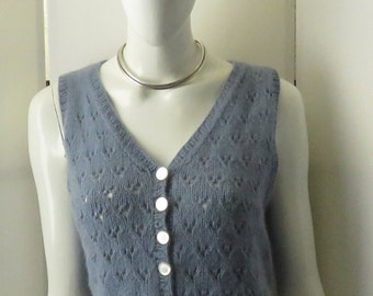 "Vintage, ""Tahki Yarns"" Hand Knitted Cashmere Vest w/ Original Carved Mother of Pearl Buttons"