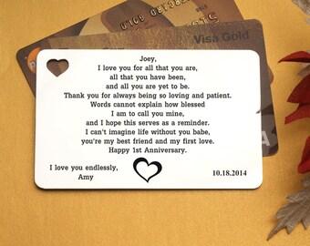 1st anniversary Wallet Card, Metal Wallet Insert Card, Wallet Insert Card, Personalized Wallet Card, wedding wallet card