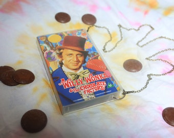 VHS video case handbag, Willy Wonka & the Chocolate Factory shoulder bag, clutch, retro, up-cycled