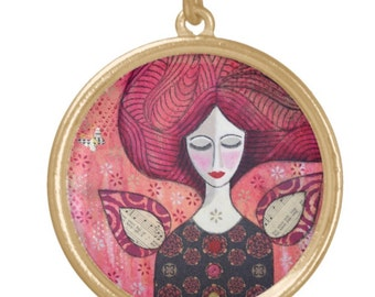 NECKLACE gold plated: 'Dream' ~ mixed media artwork by Amanda Stelcova