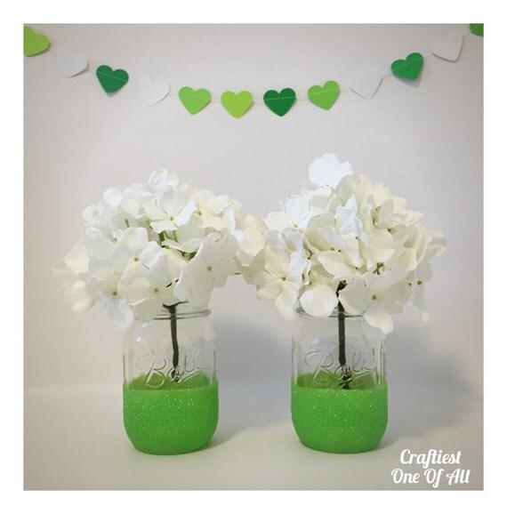 Https Www Etsy Com Listing 266180160 Set Of Two Green Glitter Mason Jars