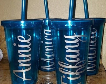 Persoanlized 16 oz double walled tumblers with straw