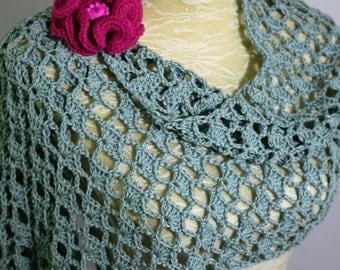 Scarf, shawl. Crochet summer shawl. Light weight wedding shoulder shawl.