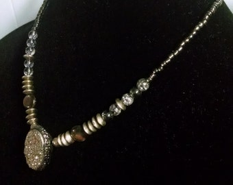 Pyrite Stone Gunmetal Necklace