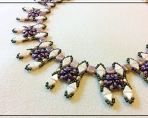 Beading tutorials and patterns, beading pattern instructions, beaded necklace pattern, DIY,PDF, flower pattern, Tila bead pattern, super duo