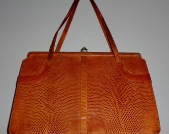 Vintage 1960's Tan Lizard Skin Kelly Bag
