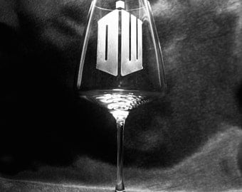 Etched Doctor Who Wine Glass