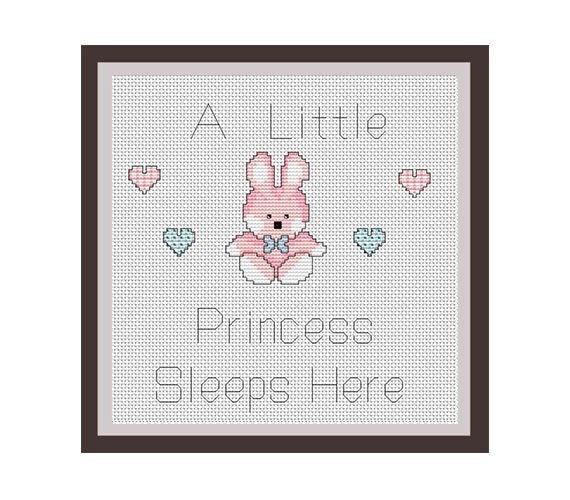 A Little Princess Sleeps Here Counted Cross Stitch Pattern