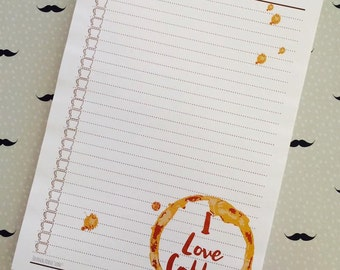 I Love Coffee Notepad with coffee cup check boxes