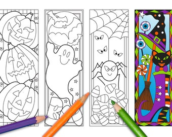 halloween coloring bookmarks page instant download relax halloween designs to color for adults - Halloween Book Marks
