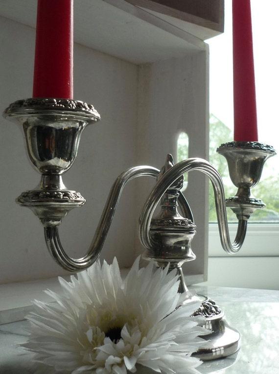 Silver plated Candelabra 6 inches ornate design by Ianthe Ian Heath Ltd, Birmingham c1952