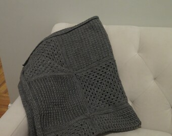 Grey Crochet Throw/Blanket/Handmade Blanket