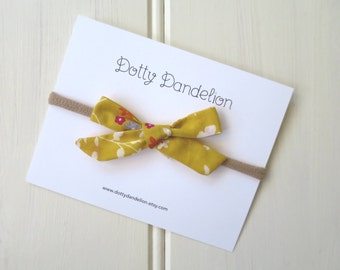 Baby Headband - Baby Hair Bow - Mustard Yellow Hair Bow - Floral Hair Bow