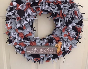 Cat wreath, cat lover wreath, love cats, gift for cat lover, front door wreath, home decor, wall decor, everyday wreath, animal lover