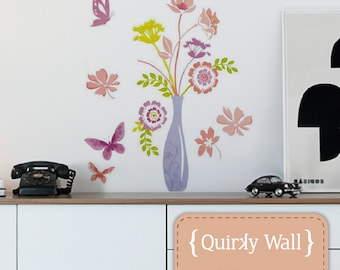 Vase of Flowers with individual butterflies Wall Decal Sticker Graphic - Removable & reposisionable. **SALE**