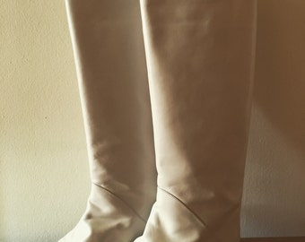 Vintage Leather White Knee High Boots - Size 7 - Made In Italy