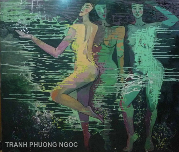 "THREE SISTERS 59x51"" oil on canvas, nude art, wall decor, original painting by Nguyen Ly Phuong Ngoc"