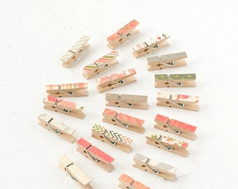 20 Mini Paper Covered Clothespins-Decorative Clothespins-Office-Gift Enclosure-Peg-Clip-Pattern-Colorful-Striped-Vinatge-Shabby Chic-Set